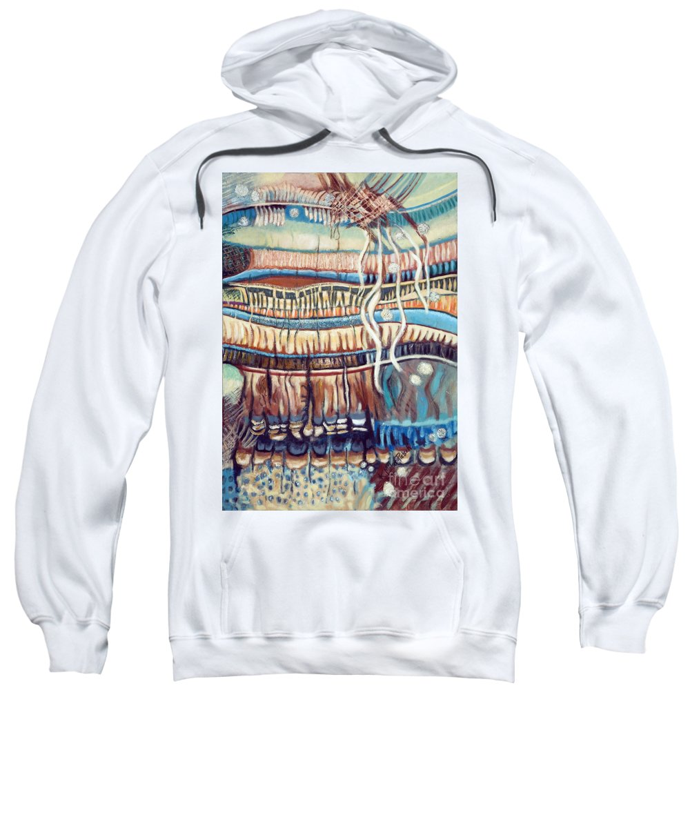 Abstract Sweatshirt featuring the painting Palm Contractions by Kerryn Madsen-Pietsch