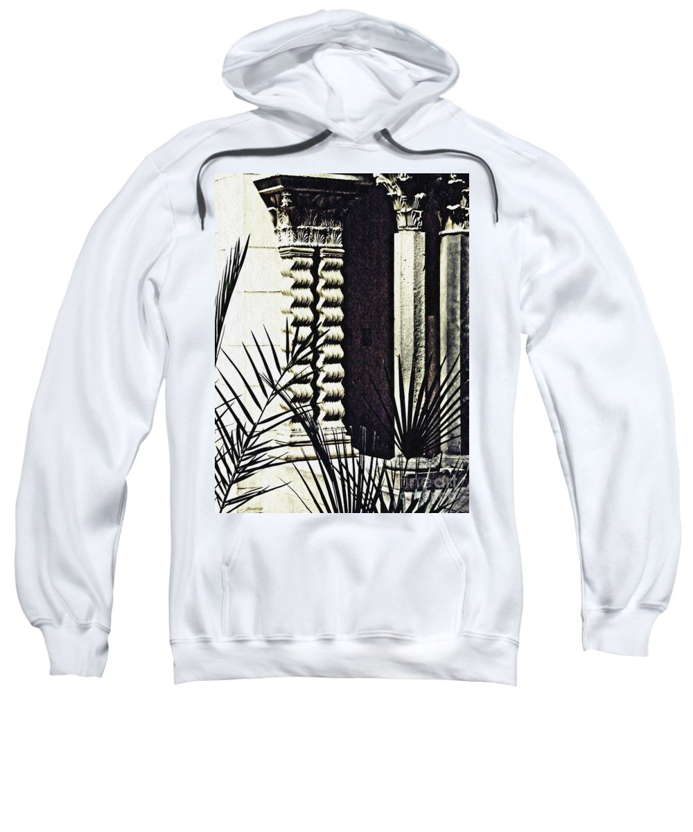 Palms Sweatshirt featuring the photograph Palms And Columns by Sarah Loft