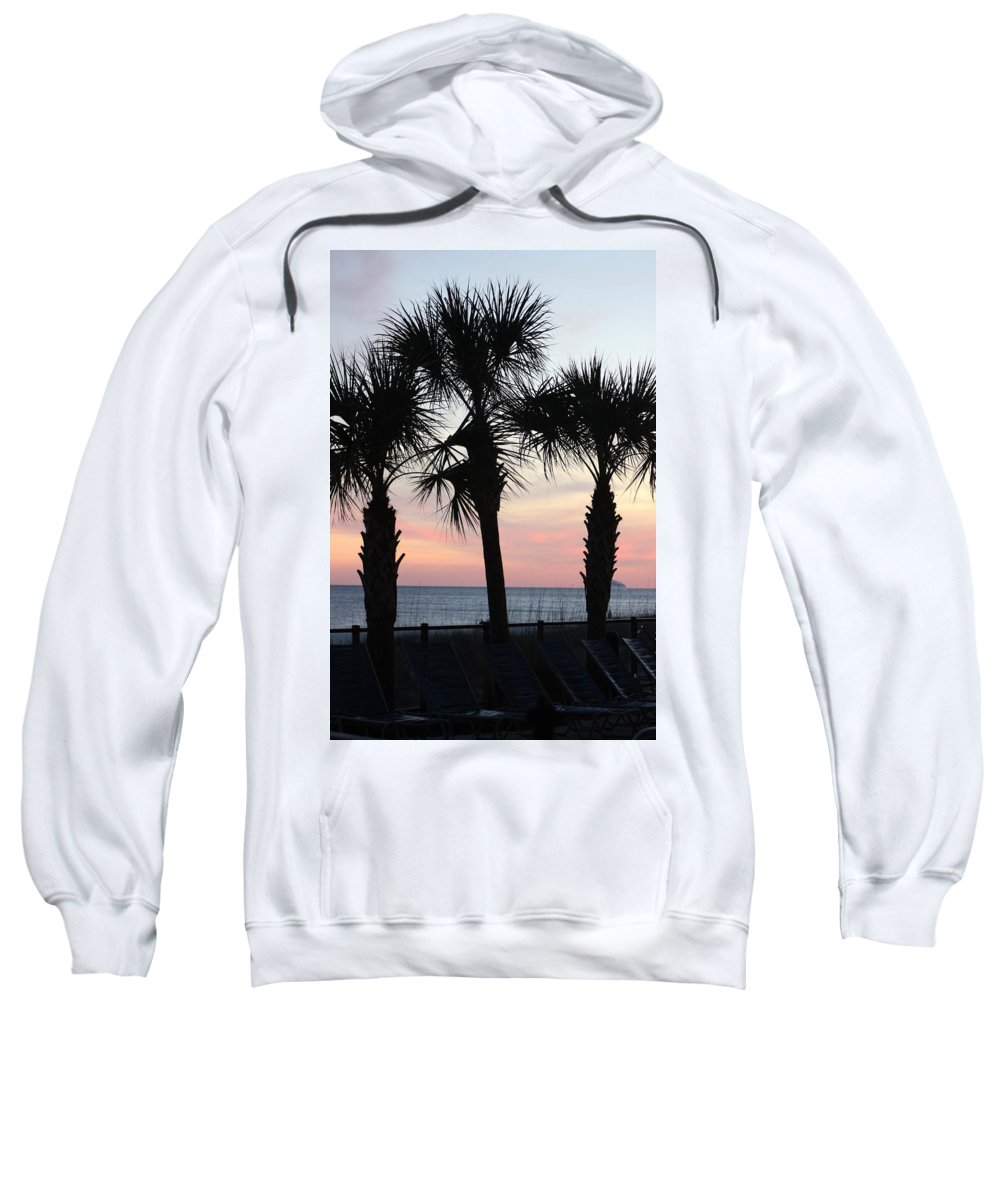 Palm Trees Sweatshirt featuring the photograph Palms At Sunset by Gayle Miller