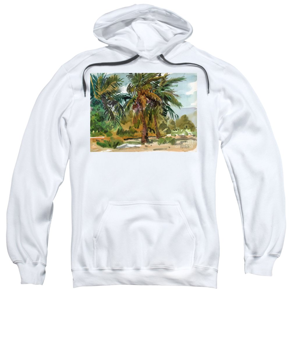 Palm Tree Sweatshirt featuring the painting Palms In Key West by Donald Maier
