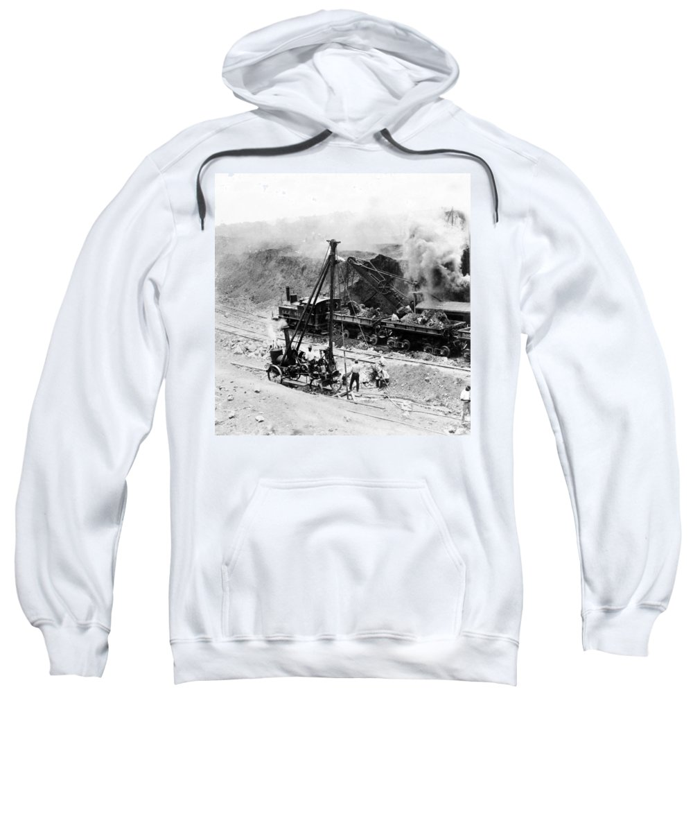 panama Canal Sweatshirt featuring the photograph Panama Canal - Construction - C 1910 by International Images