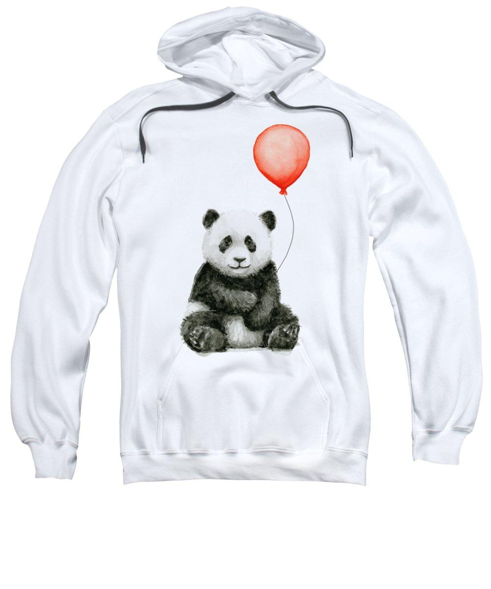 Baby Panda Sweatshirt featuring the painting Panda Baby And Red Balloon Nursery Animals Decor by Olga Shvartsur