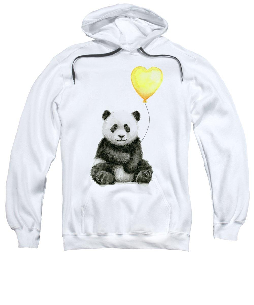 Baby Panda Sweatshirt featuring the painting Panda Baby With Yellow Balloon by Olga Shvartsur