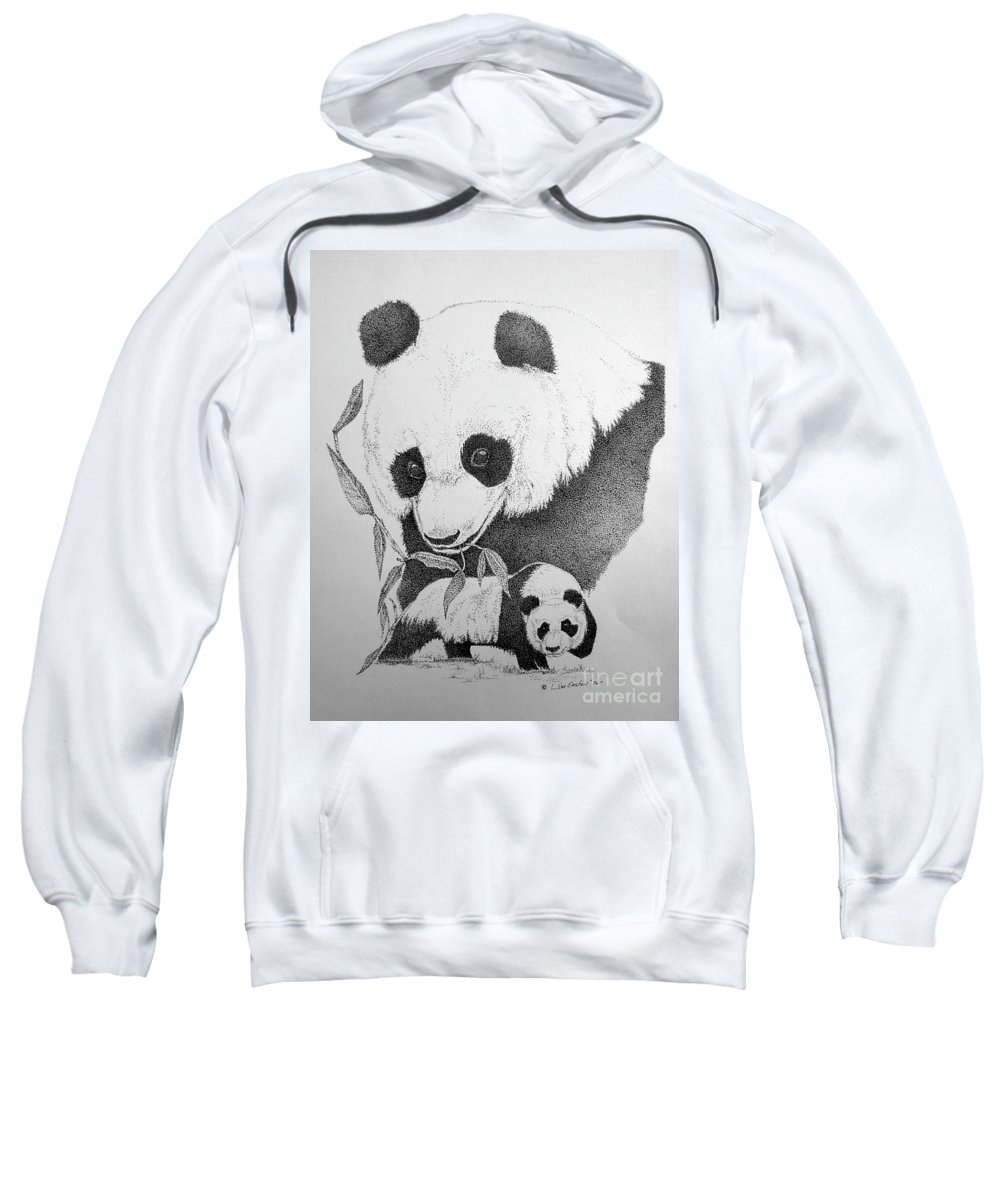 Panda Sweatshirt featuring the drawing Panda Collage by Lucien Van Oosten