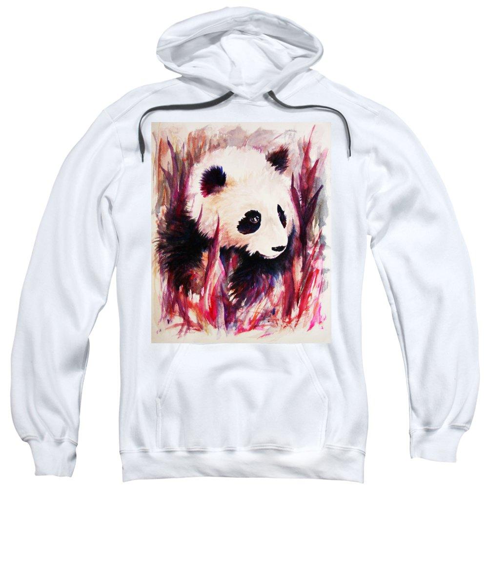 Panda Sweatshirt featuring the painting Panda by Rachel Christine Nowicki