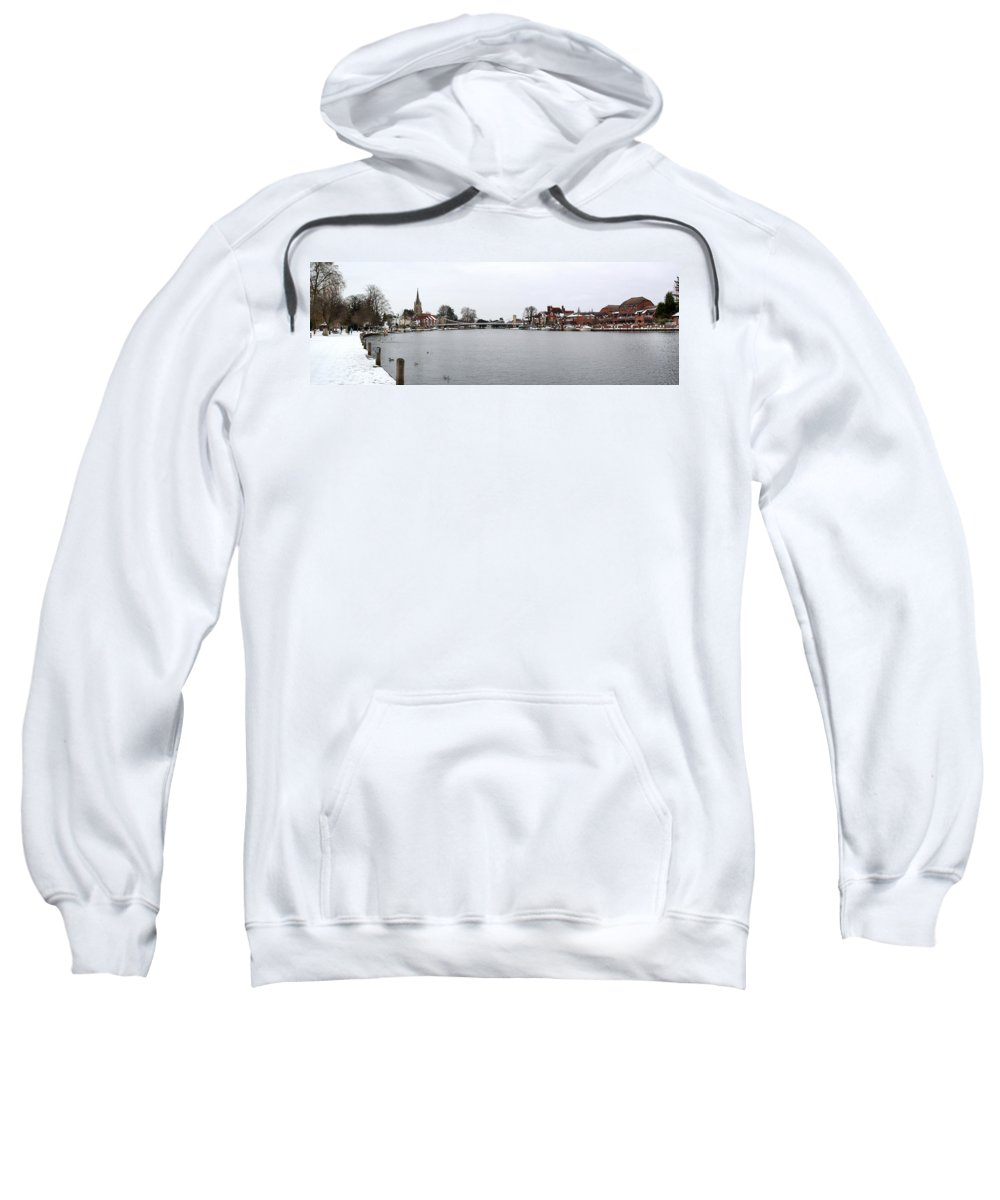 Marlow Sweatshirt featuring the photograph Panorama Of Marlow Bridge In Winter by Chris Day