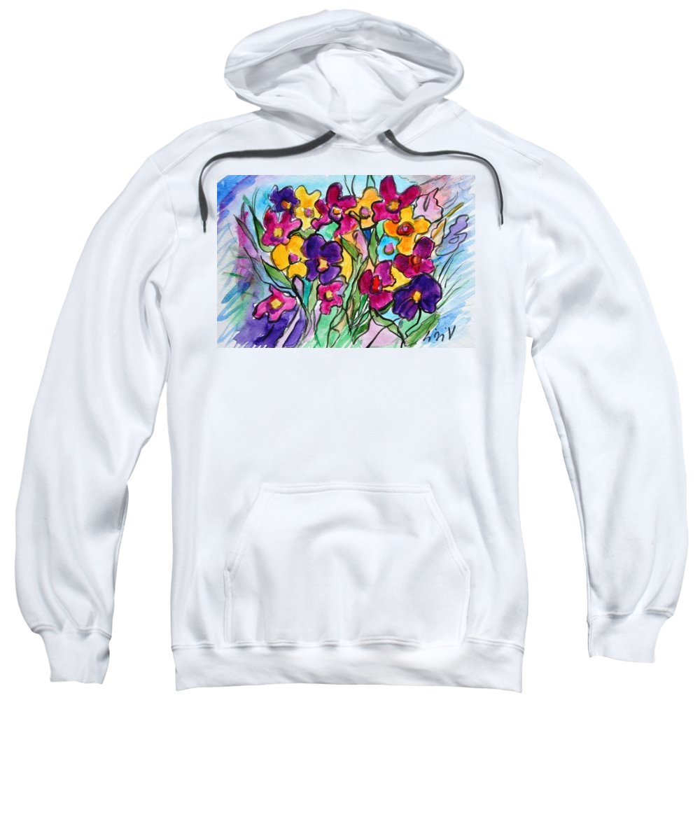 Flowers Sweatshirt featuring the painting Pansies by Luiza Vizoli