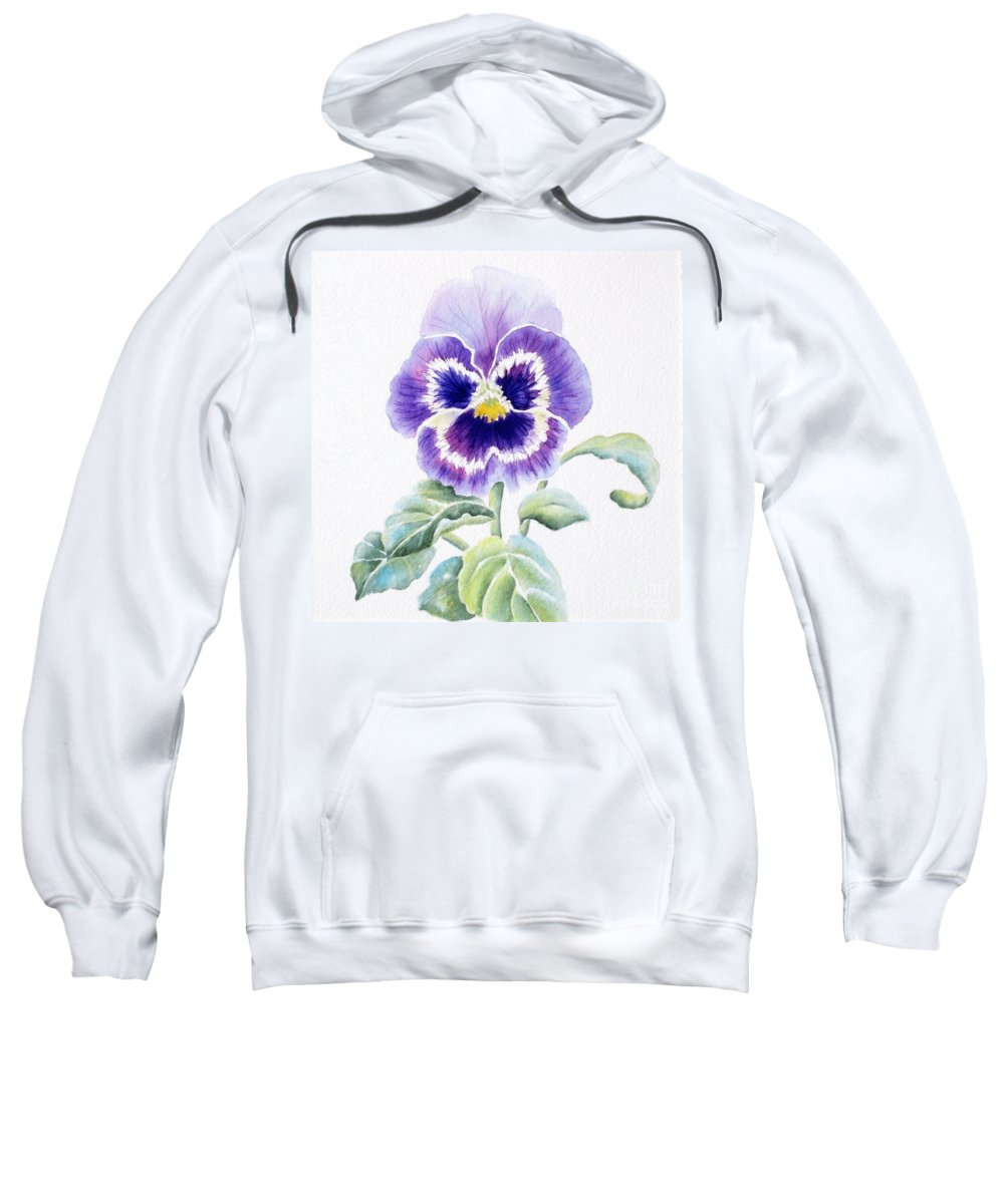 Pansy Sweatshirt featuring the painting Pansy by Deborah Ronglien