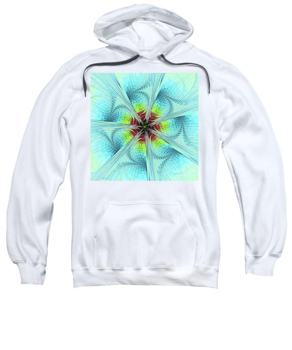 Pansy Fractal Sweatshirt featuring the digital art Pansy Fractal by Deborah Benoit