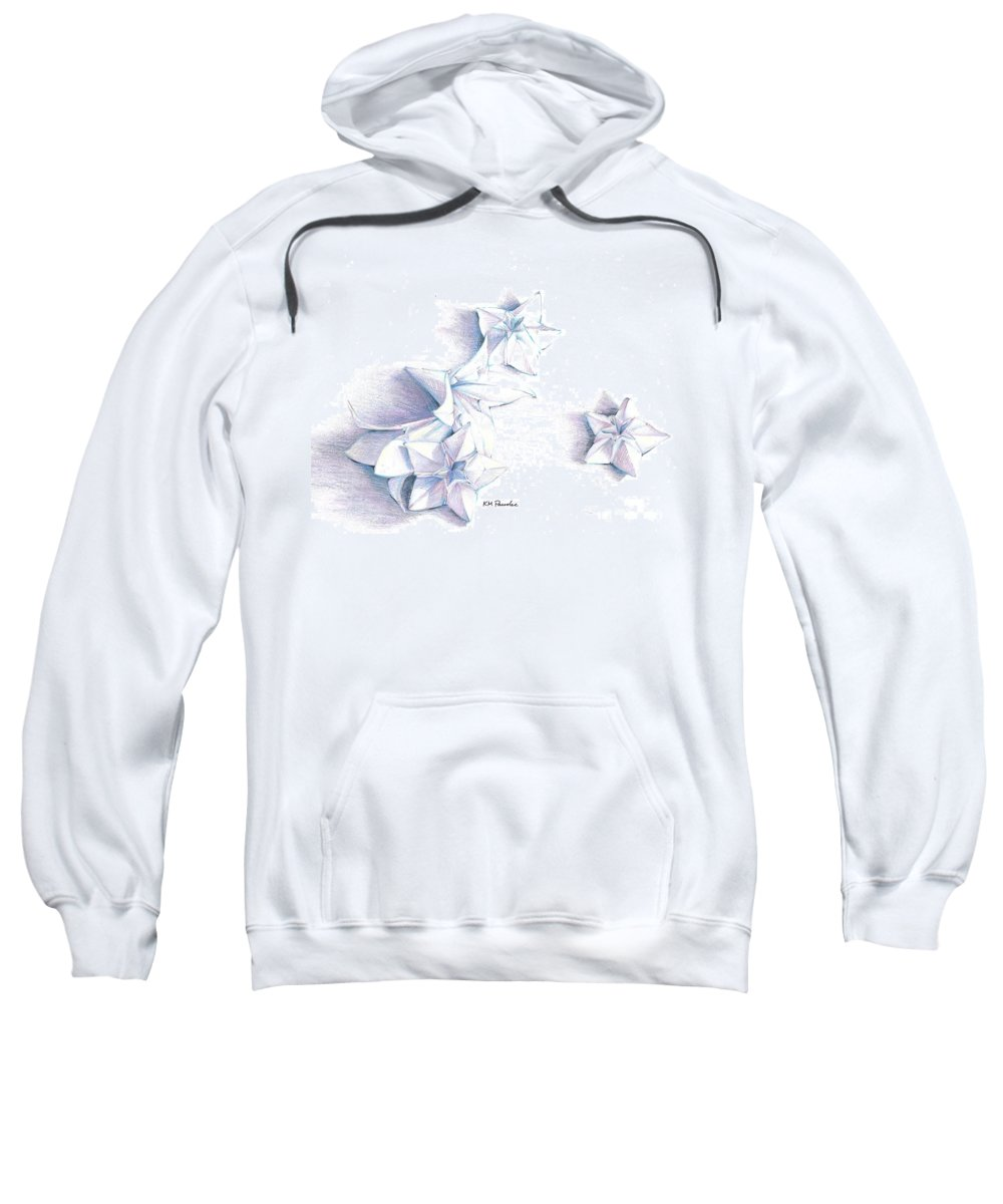 Still Life Sweatshirt featuring the drawing Paper Petals by K M Pawelec