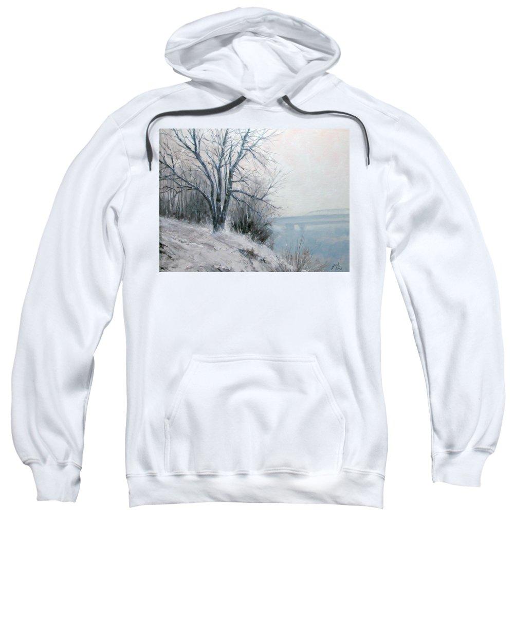 Art Sweatshirt featuring the painting Paradise Point Bridge Winter by Jim Gola