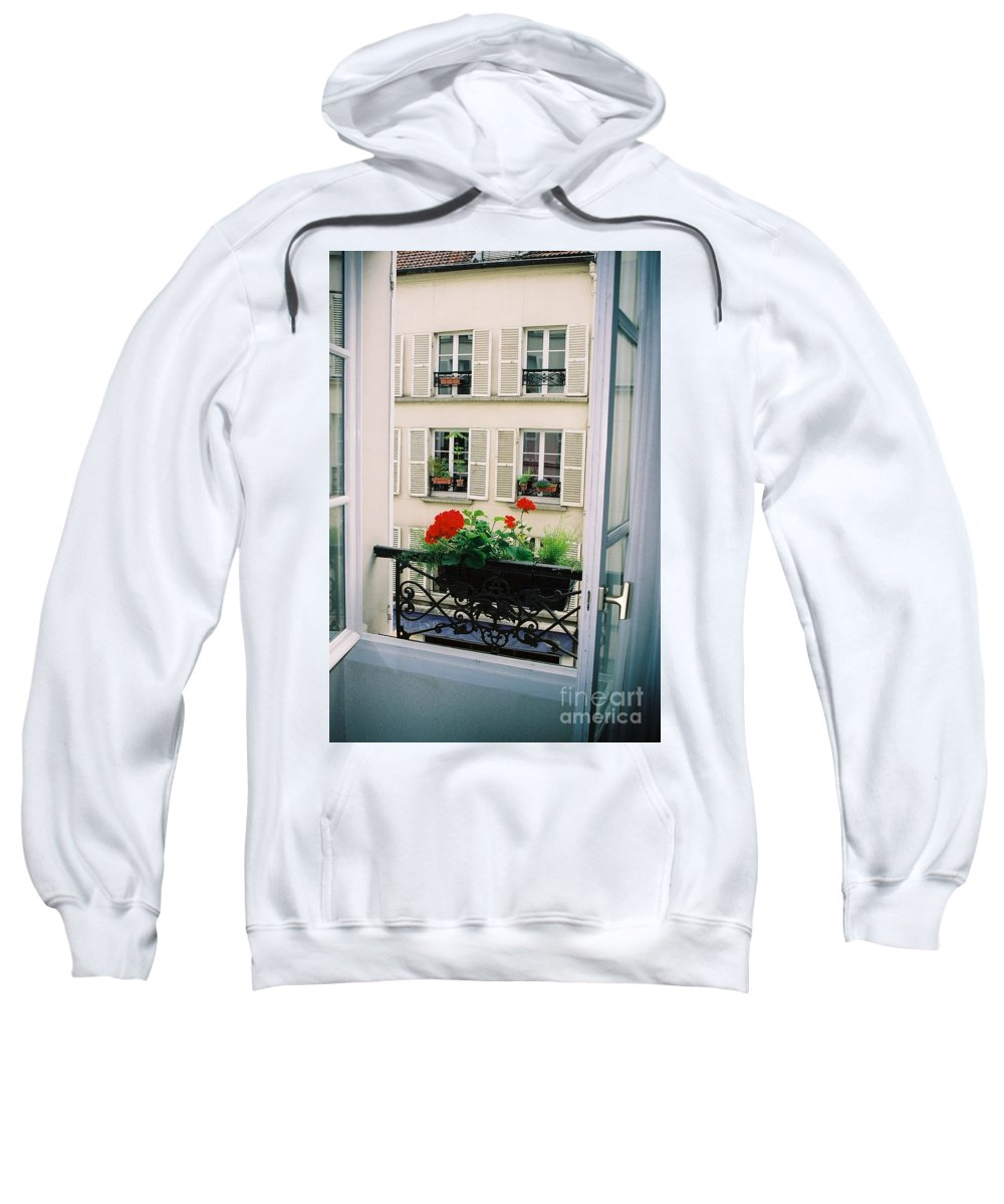 Window Sweatshirt featuring the photograph Paris Day Windowbox by Nadine Rippelmeyer