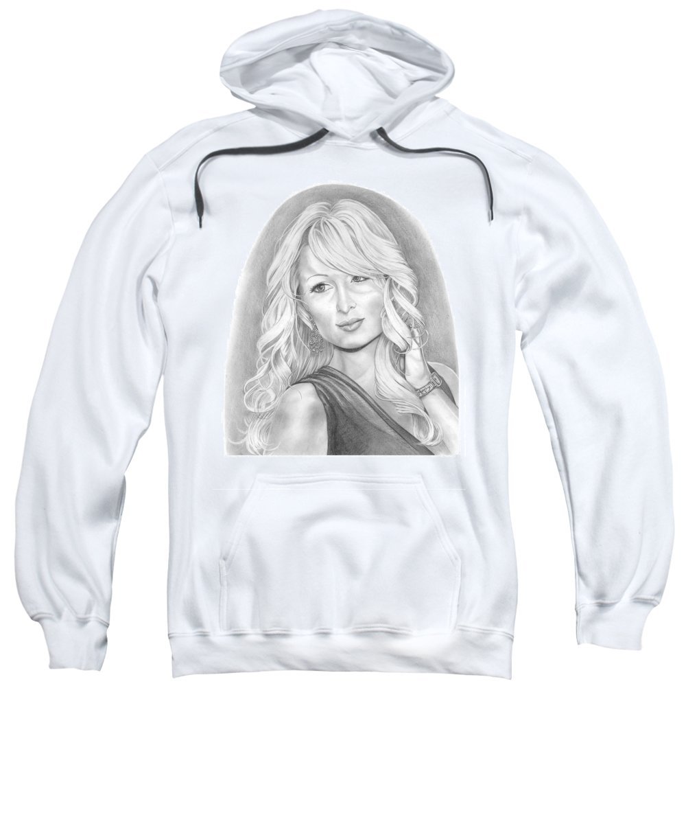 Portrait Sweatshirt featuring the drawing Paris Hilton by Murphy Elliott