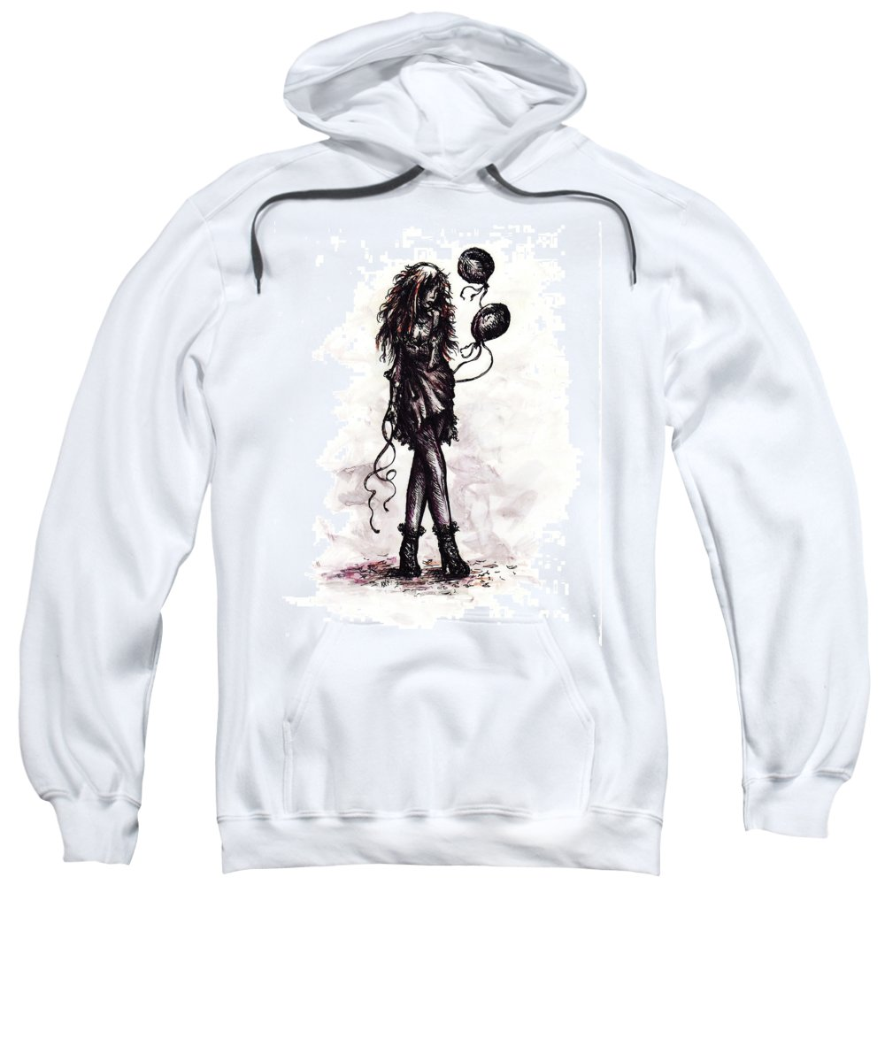 Drawing Sweatshirt featuring the drawing Party Girl by Rachel Christine Nowicki