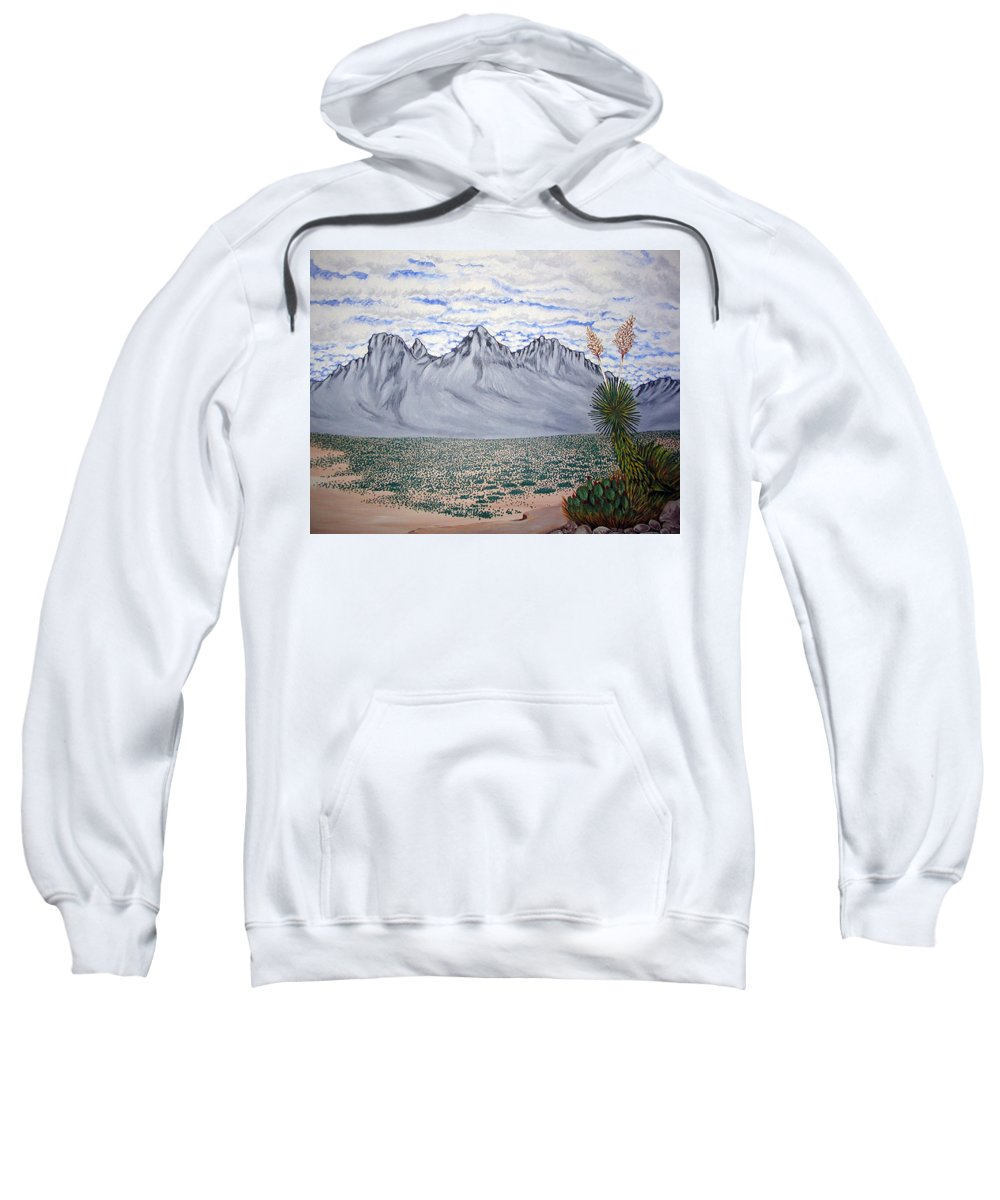 Desertscape Sweatshirt featuring the painting Pass Of The North by Marco Morales