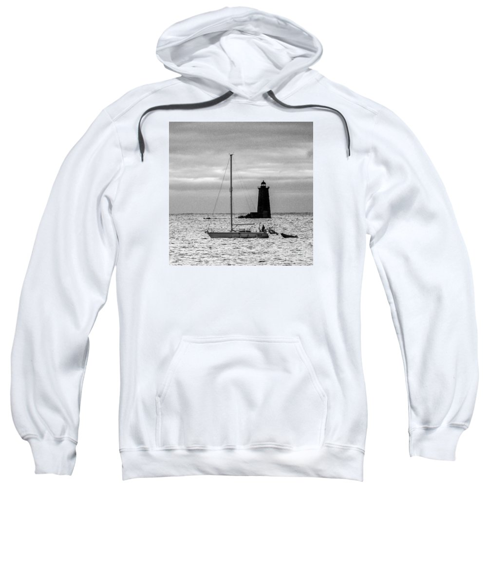 Sunrise Sweatshirt featuring the photograph Passing Whaleback Light In The Early Morning by Jim Hayes
