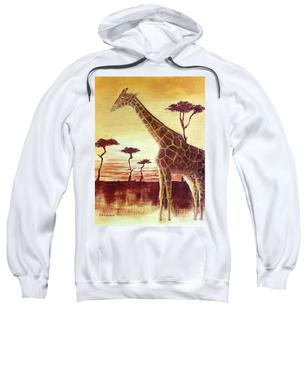 Animal Sweatshirt featuring the painting Patches by Todd Blanchard