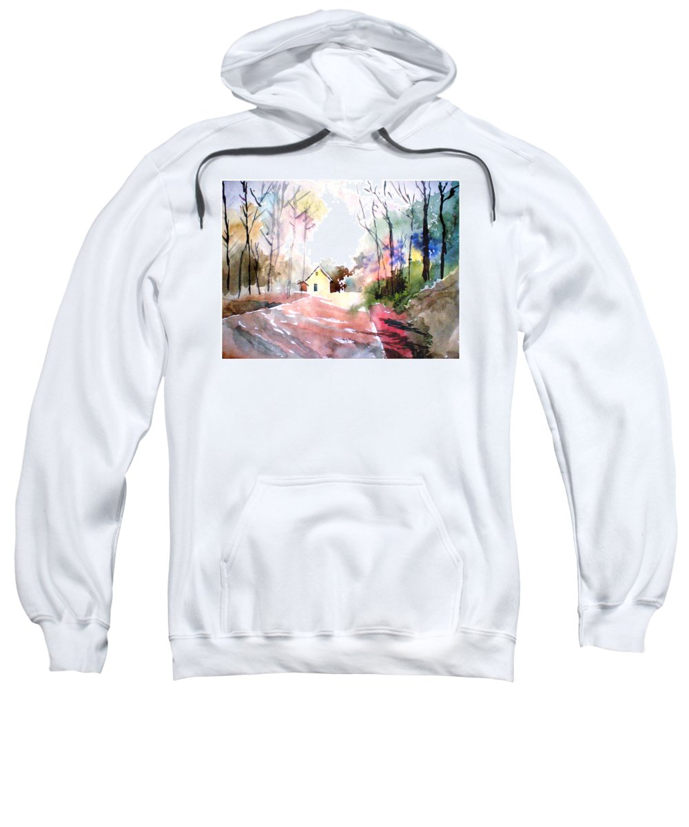 Nature Sweatshirt featuring the painting Path In Colors by Anil Nene
