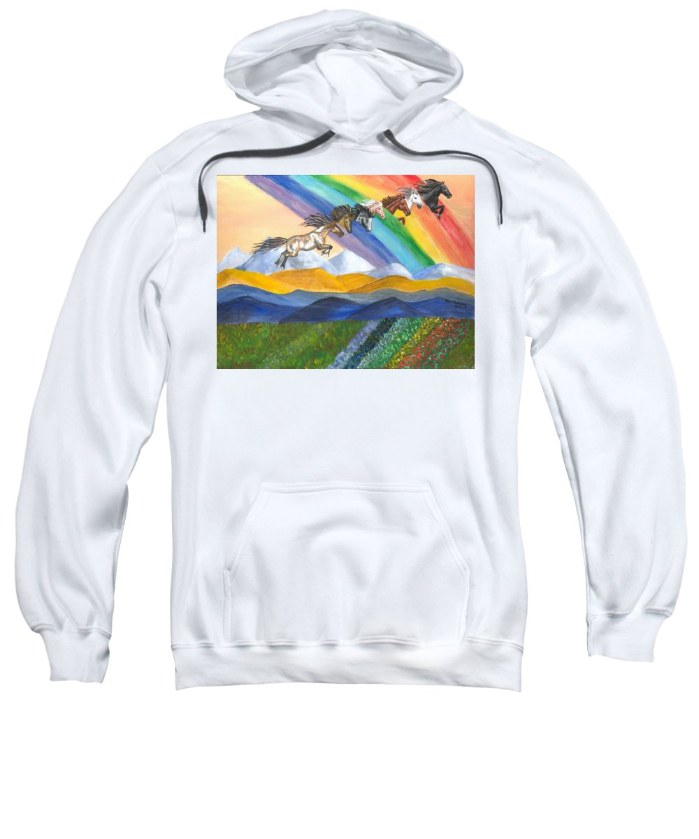 Galloping Horses Sweatshirt featuring the painting Paths Of Diversity by Heidi Meulenberg