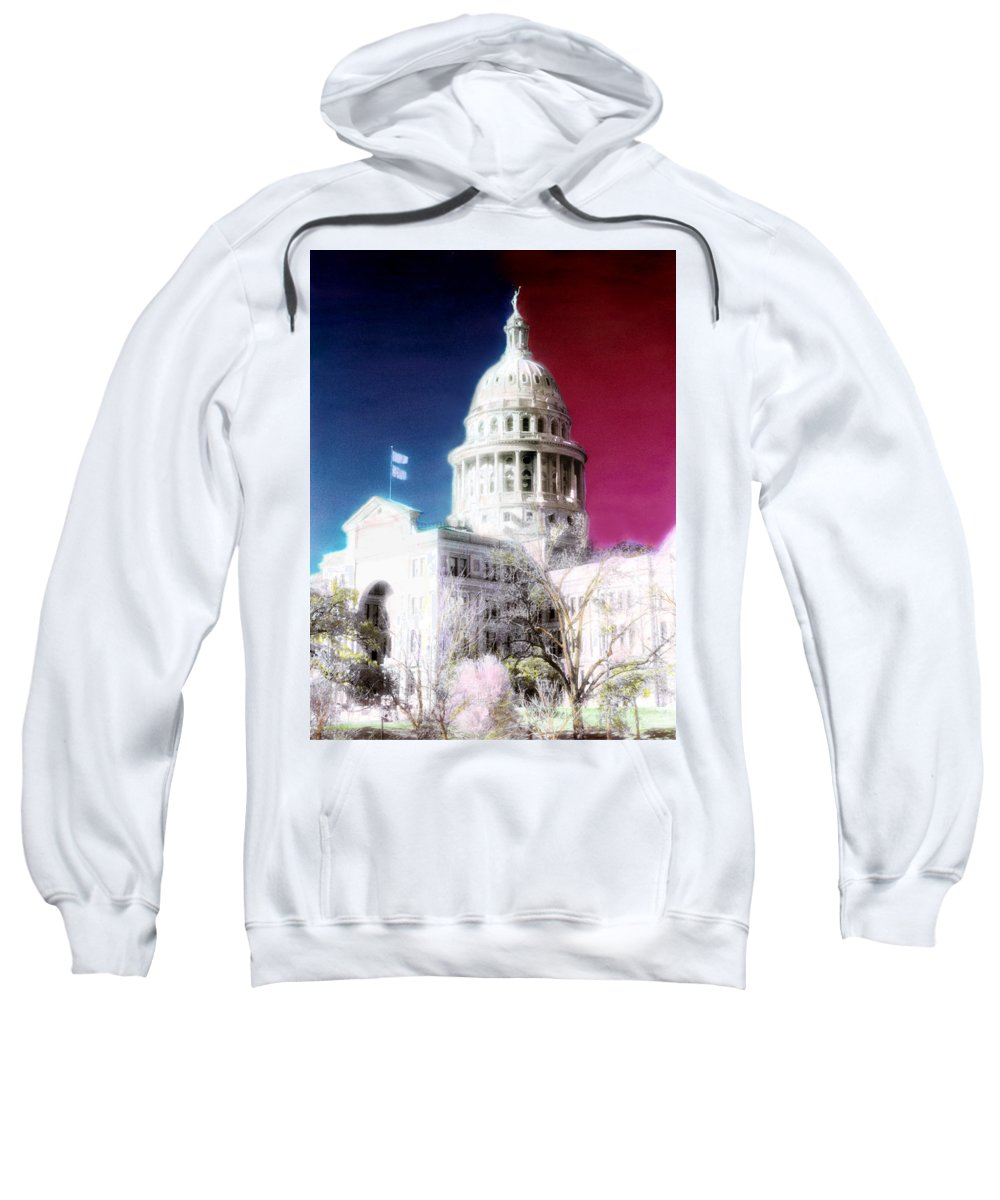 Americana Sweatshirt featuring the photograph Patriotic Texas Capitol by Marilyn Hunt