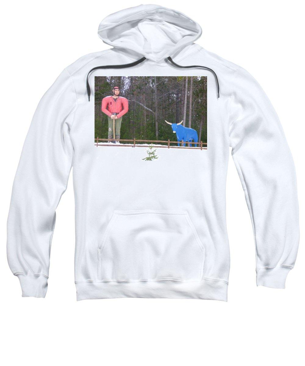 Roadside Sweatshirt featuring the photograph Paul Bunyan And Babe by Scott Ward