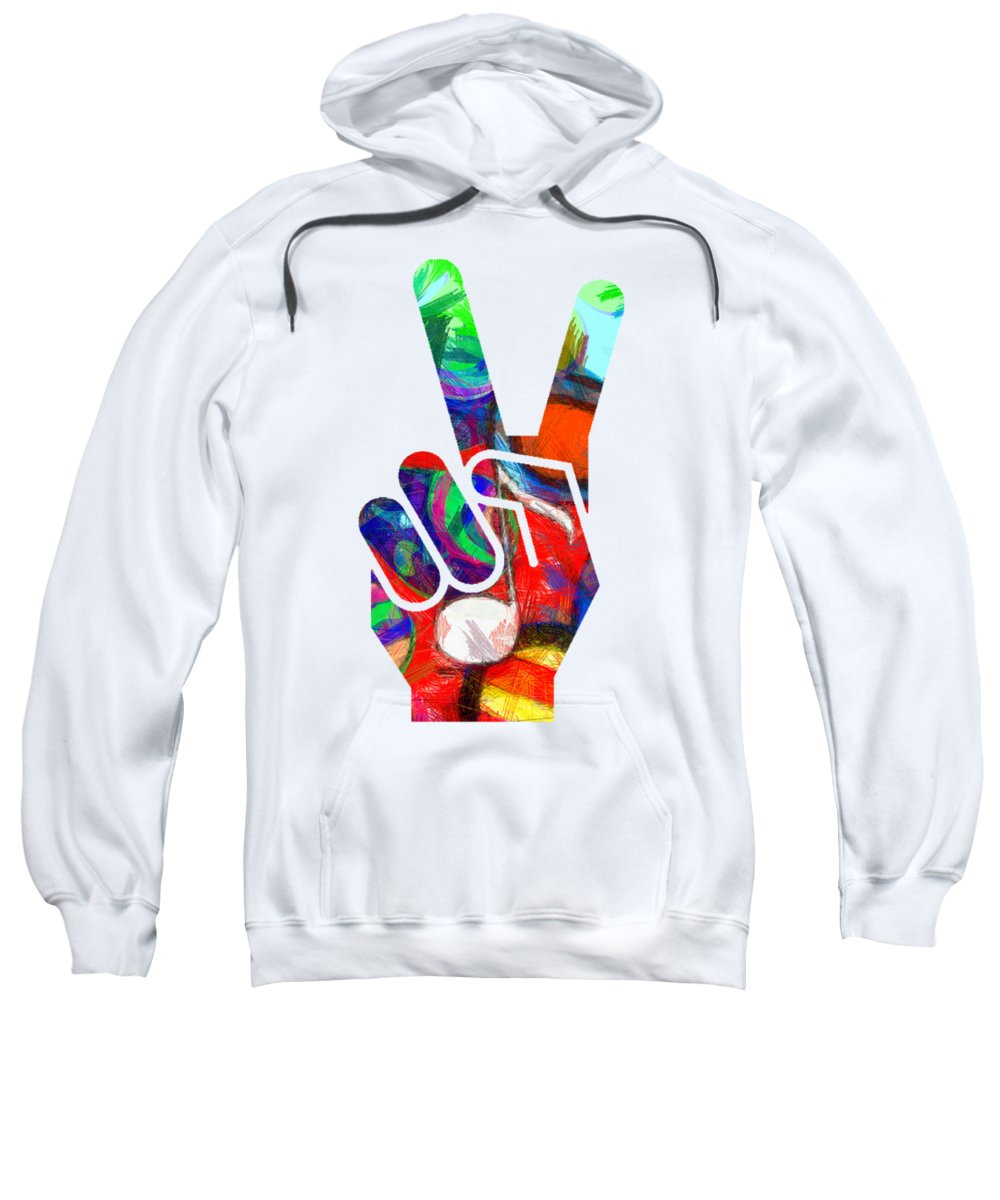 Abstract Sweatshirt featuring the digital art Peace Hippy Paint Hand Sign by Edward Fielding