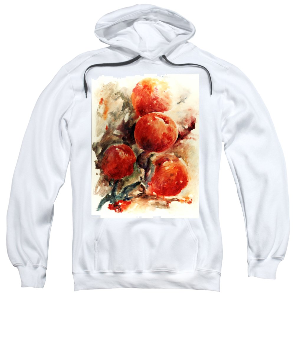 Abstract Sweatshirt featuring the painting Peaches by Rachel Christine Nowicki