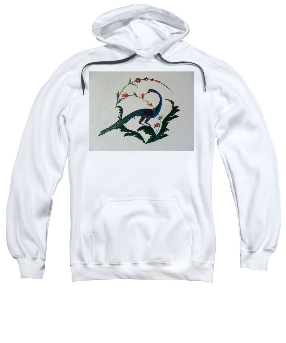 Peackok Sweatshirt featuring the painting Peackok by Karl Talip Kara