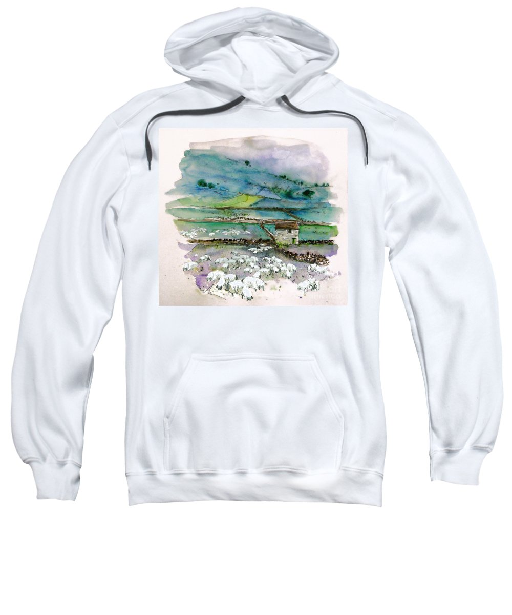 Paintings England Watercolour Travel Sketches Ink Drawings Art Landscape Paintings Town Sweatshirt featuring the painting Peak District Uk Travel Sketch by Miki De Goodaboom