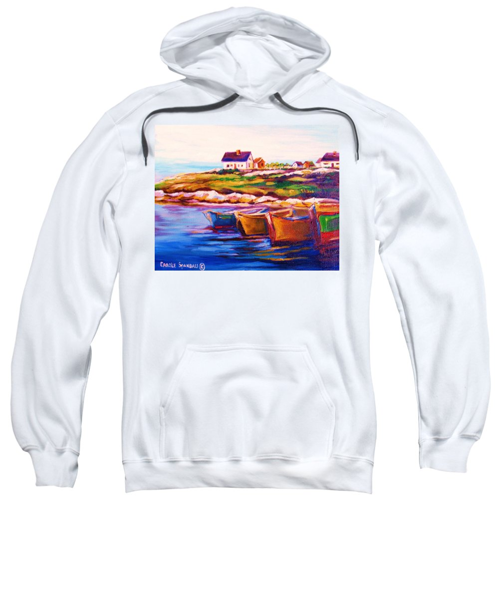 Row Boats Sweatshirt featuring the painting Peggys Cove Four Row Boats by Carole Spandau