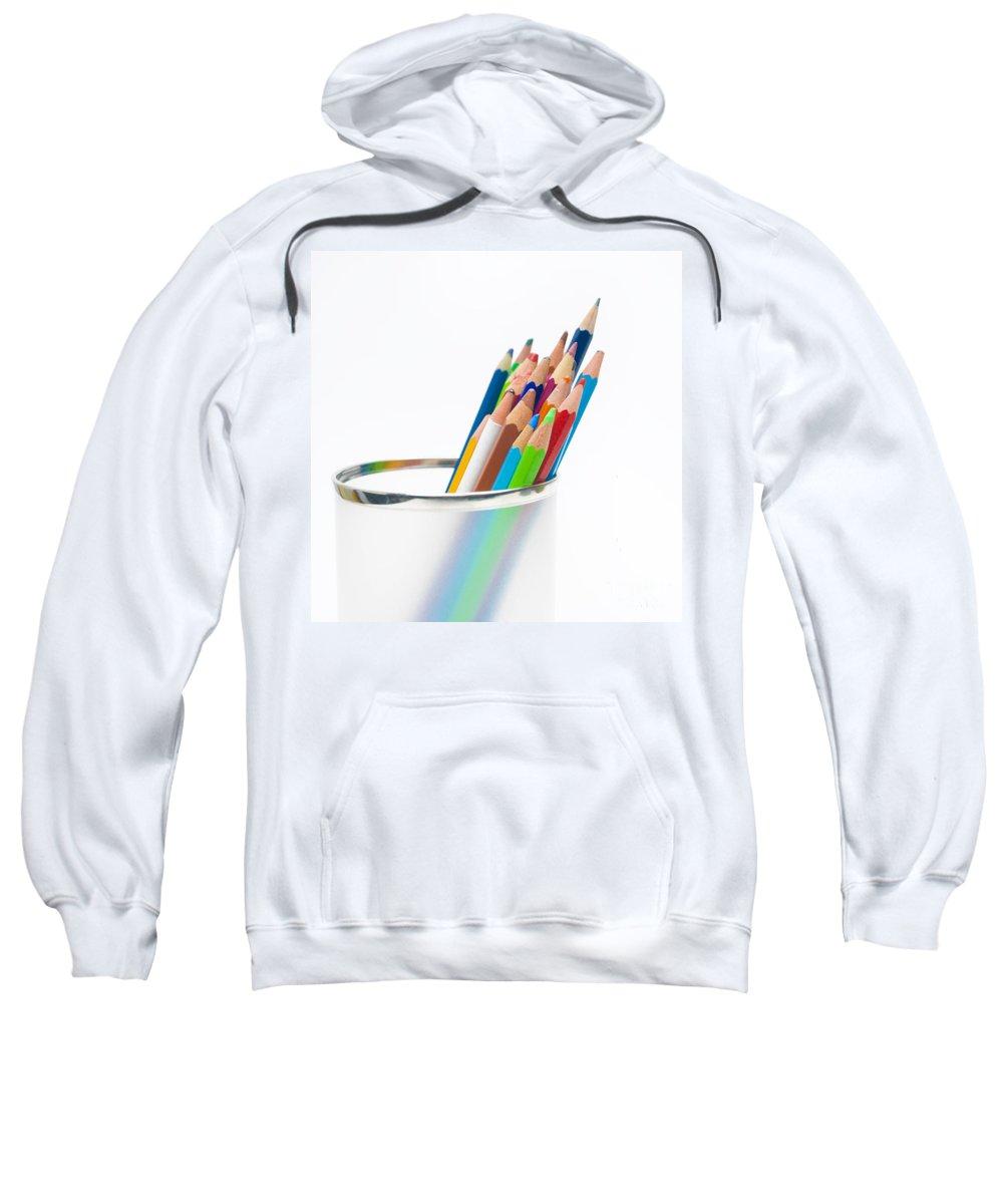 Colored Sweatshirt featuring the photograph Pencils by Bernard Jaubert