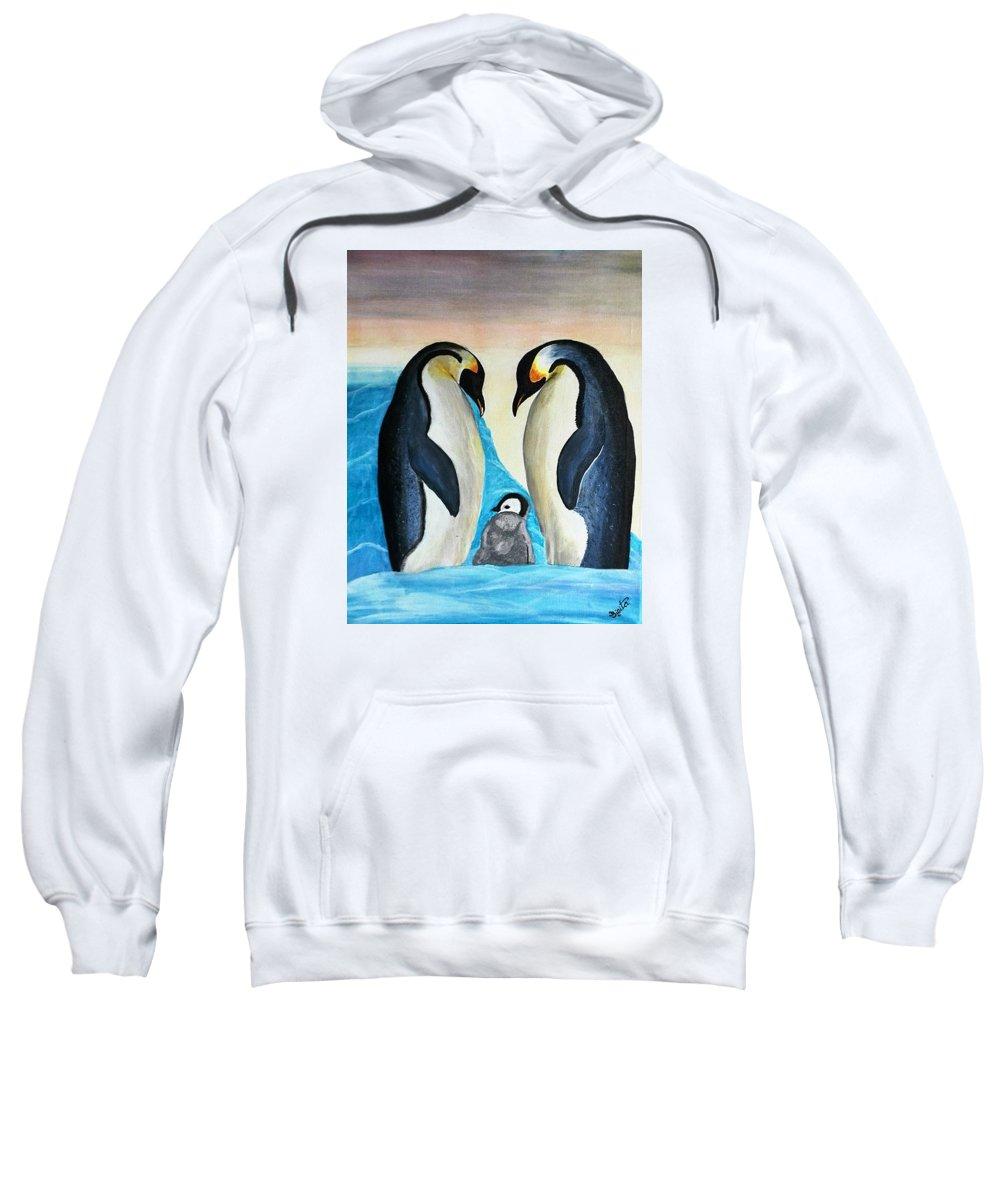 Penguins Sweatshirt featuring the painting Penguins by Sigita Smetonaite