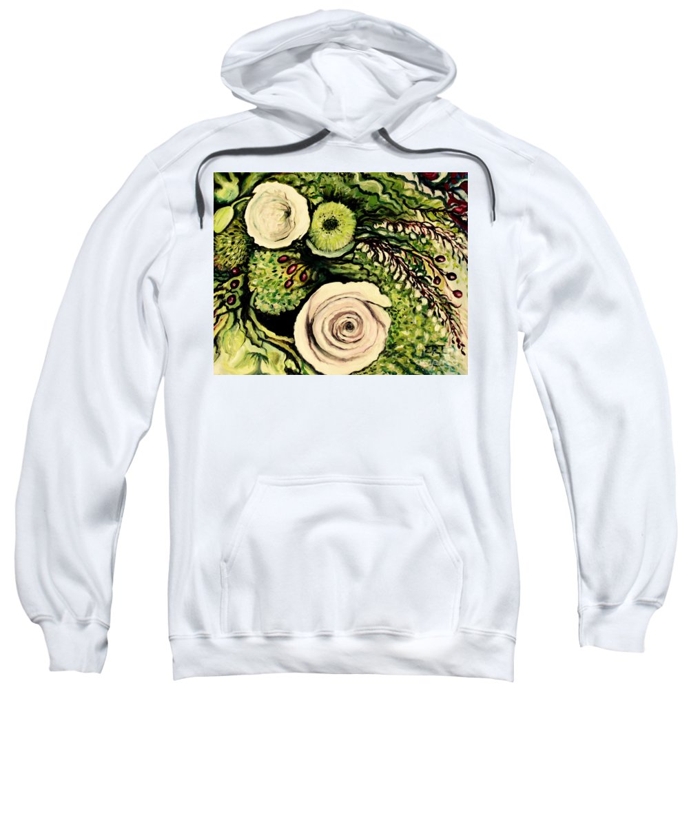Oil Sweatshirt featuring the painting Peonies And Hypercom by Elizabeth Robinette Tyndall