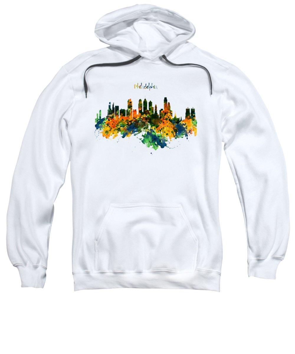 Philadelphia Sweatshirt featuring the painting Philadelphia Watercolor Skyline by Marian Voicu