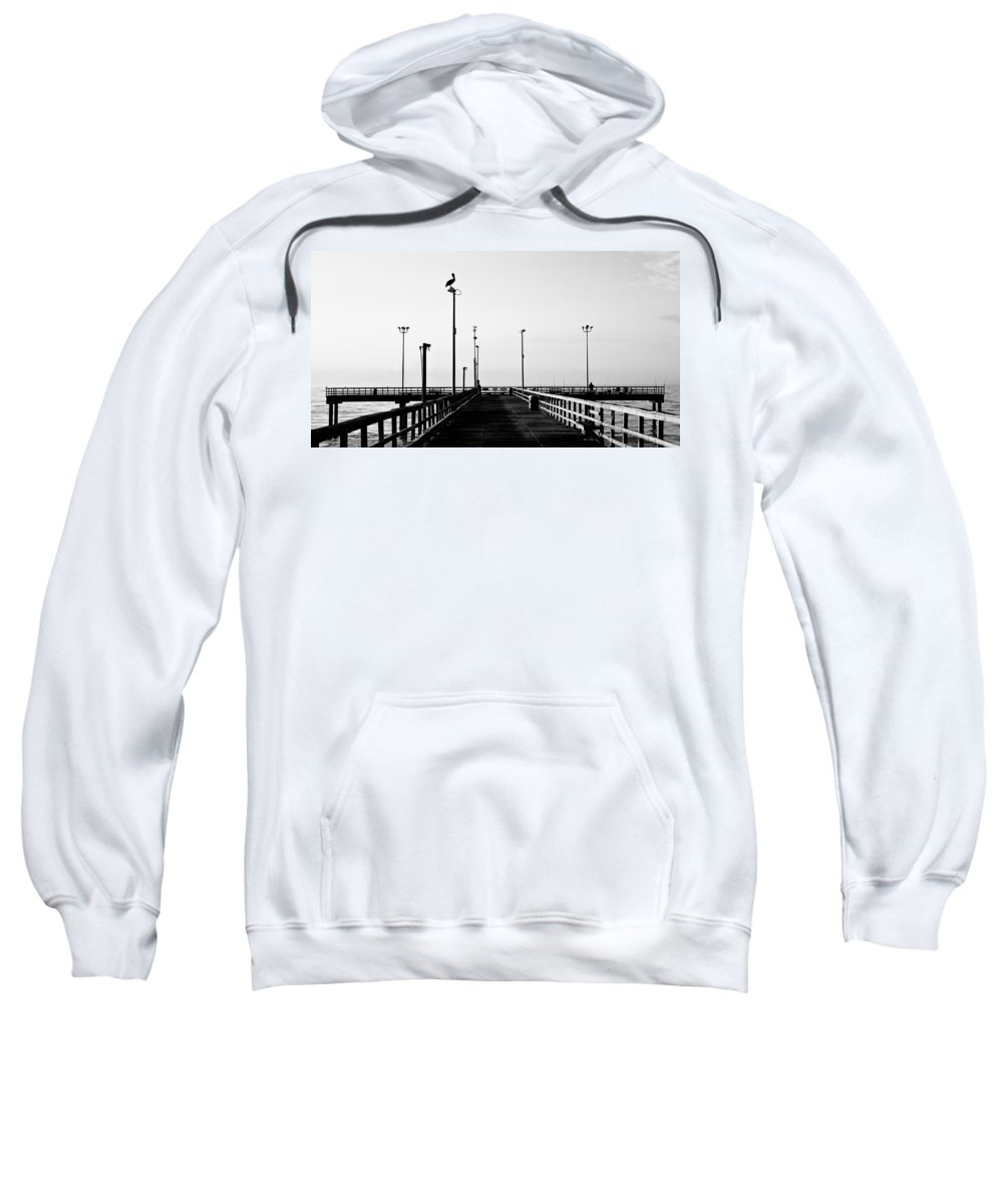 Bird Sweatshirt featuring the photograph Pier And Pelican by Marilyn Hunt