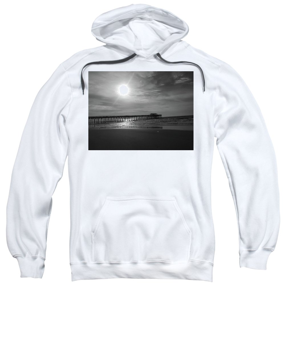 Kelly Hazel Sweatshirt featuring the photograph Pier At Myrtle Beach In Black And White by Kelly Hazel