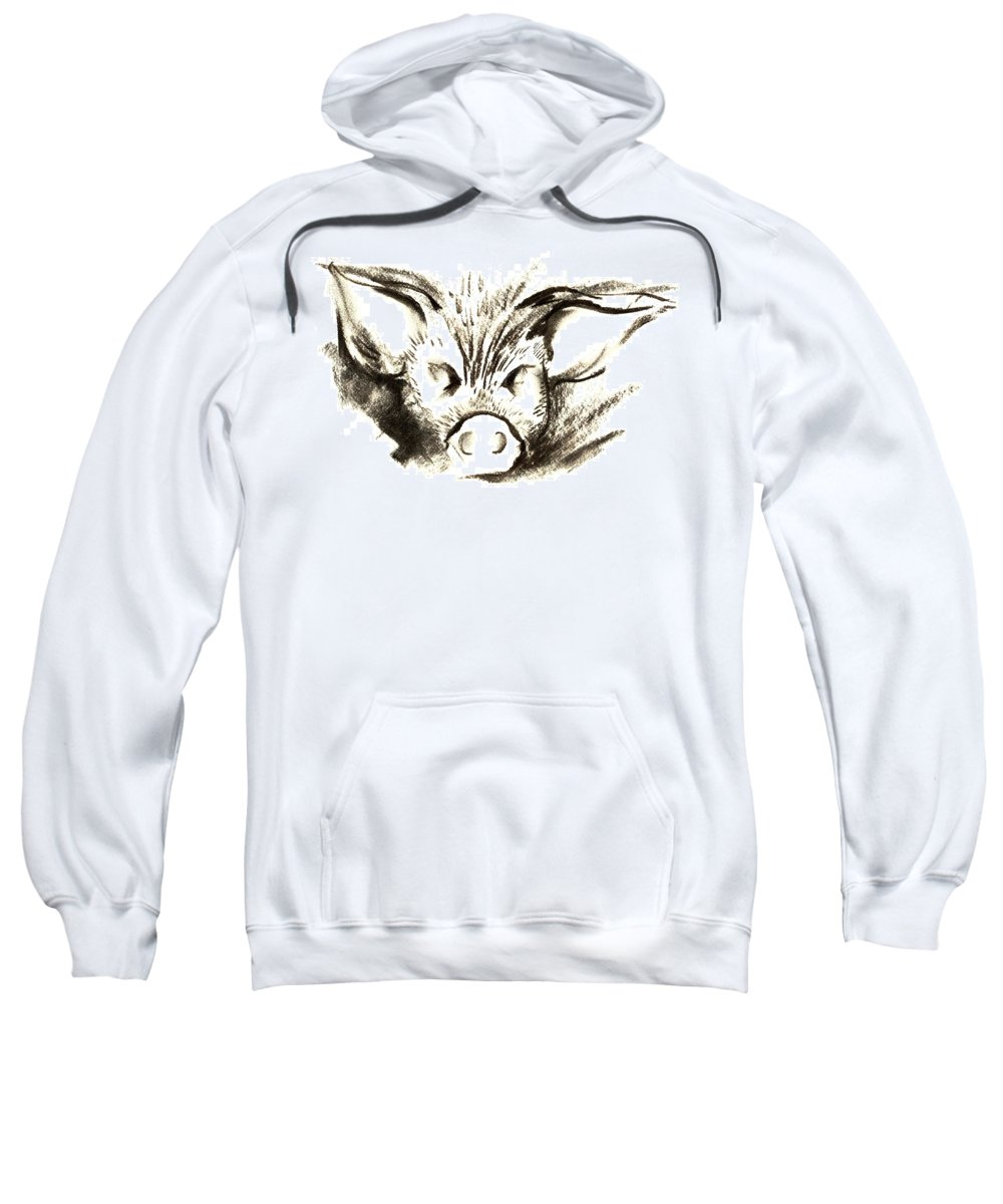 Animal Welfare Sweatshirt featuring the drawing Pig Headed by Mark Cawood