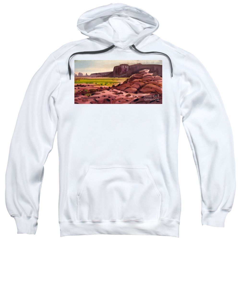 Monument Valley Sweatshirt featuring the painting Pillow Rocks by Donald Maier