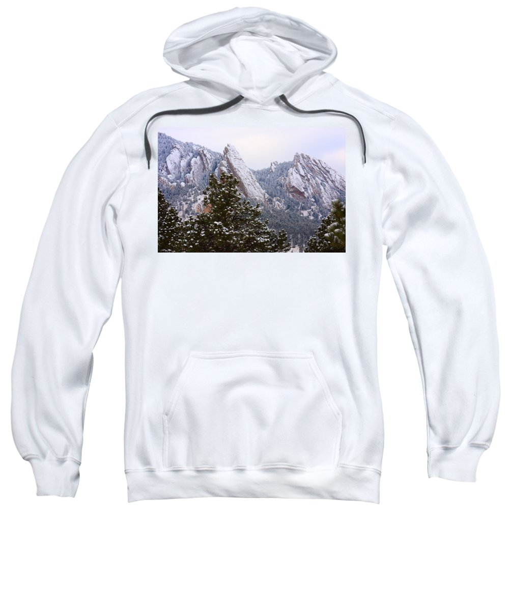 Flatirons Sweatshirt featuring the photograph Pines And Flatirons Boulder Colorado by James BO Insogna