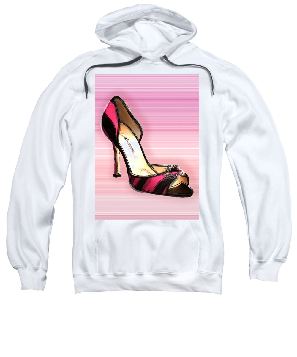 Shoes Heels Pumps Fashion Designer Feet Foot Shoe Sweatshirt featuring the painting Pink And Black Stripe Shoe by Elaine Plesser