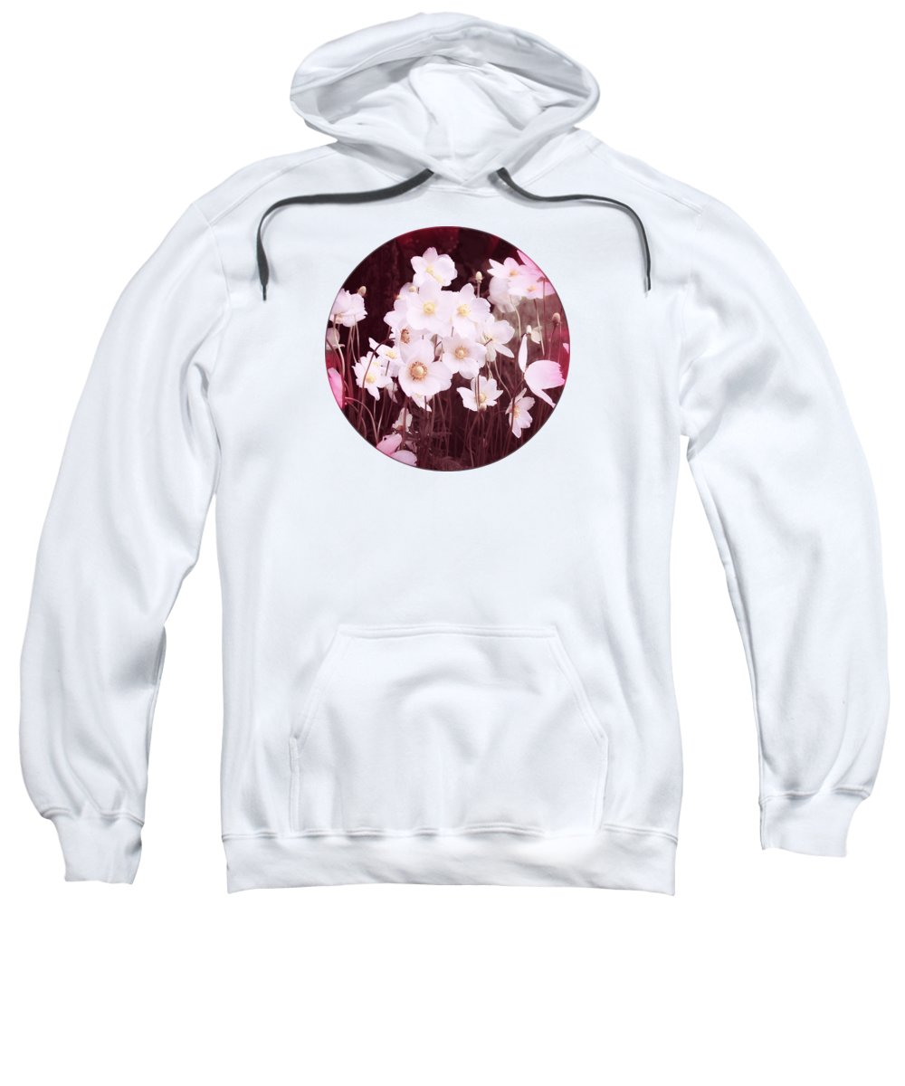 Pink Flowers Sweatshirt featuring the photograph Pink And White Anemones by Mary Wolf