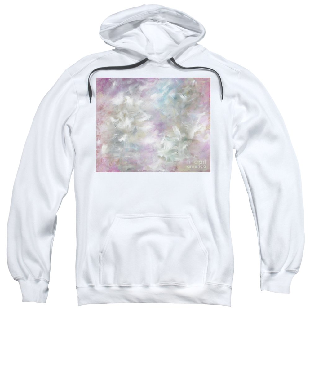 Pink Sweatshirt featuring the painting Pink Cloud by Nadine Rippelmeyer