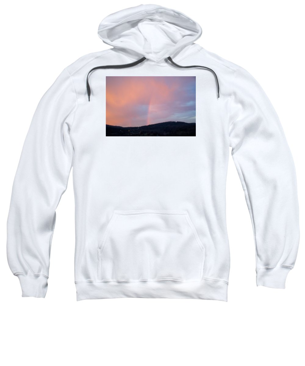 Pink Clouds Sweatshirt featuring the photograph Pink clouds with rainbow by Toni Berry