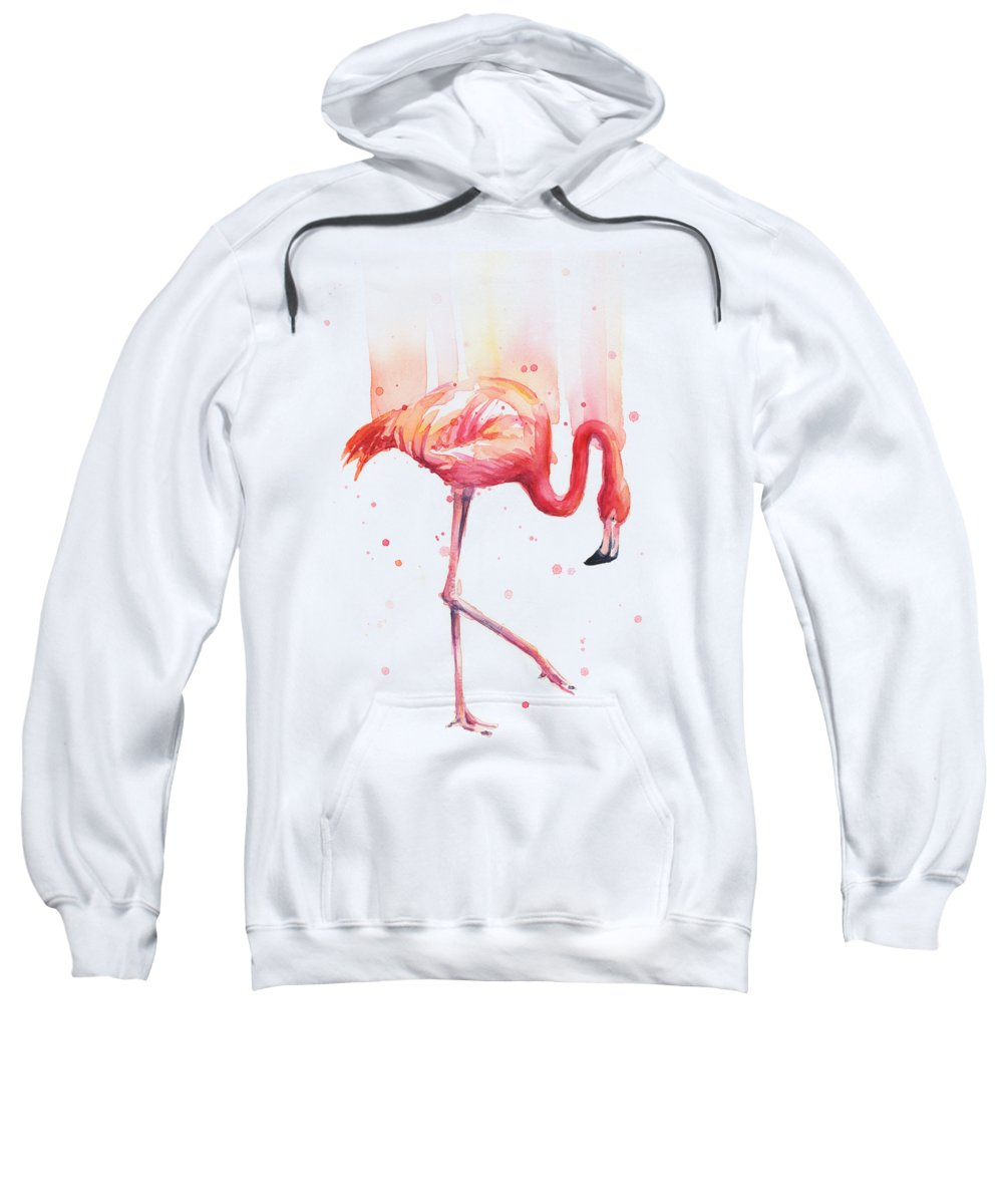 Flamingo Sweatshirt featuring the painting Pink Flamingo Watercolor Rain by Olga Shvartsur