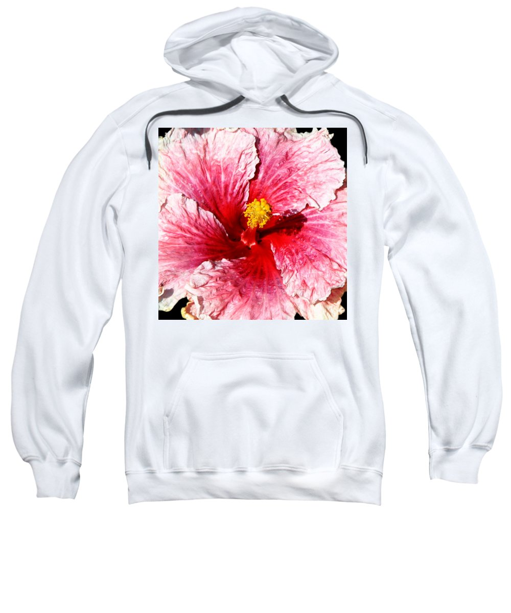 Flower Sweatshirt featuring the photograph Pink Hibiscus Inspired By Georgia O'keefe by Anthony Jones