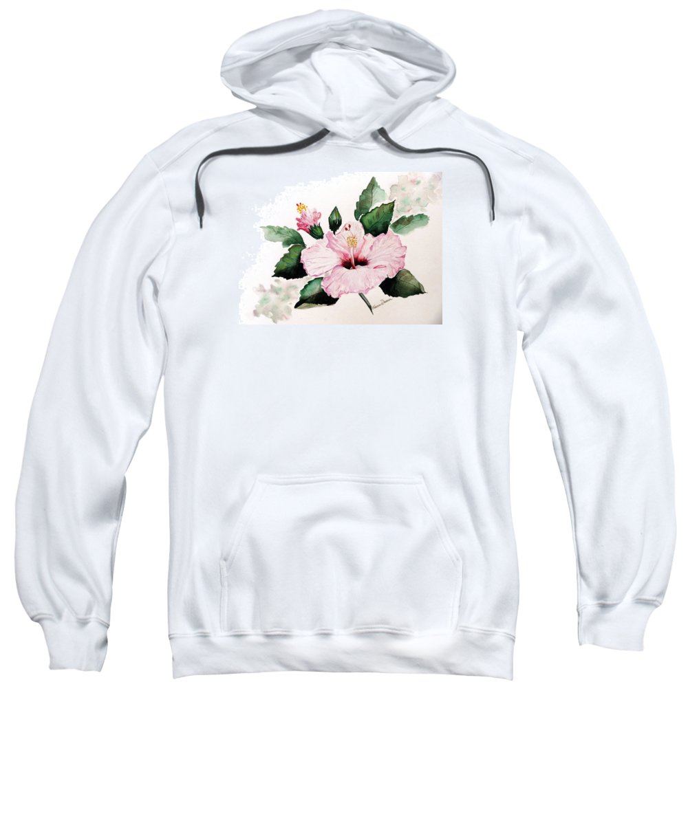 Hibiscus Painting  Floral Painting Flower Pink Hibiscus Tropical Bloom Caribbean Painting Sweatshirt featuring the painting Pink Hibiscus by Karin Dawn Kelshall- Best
