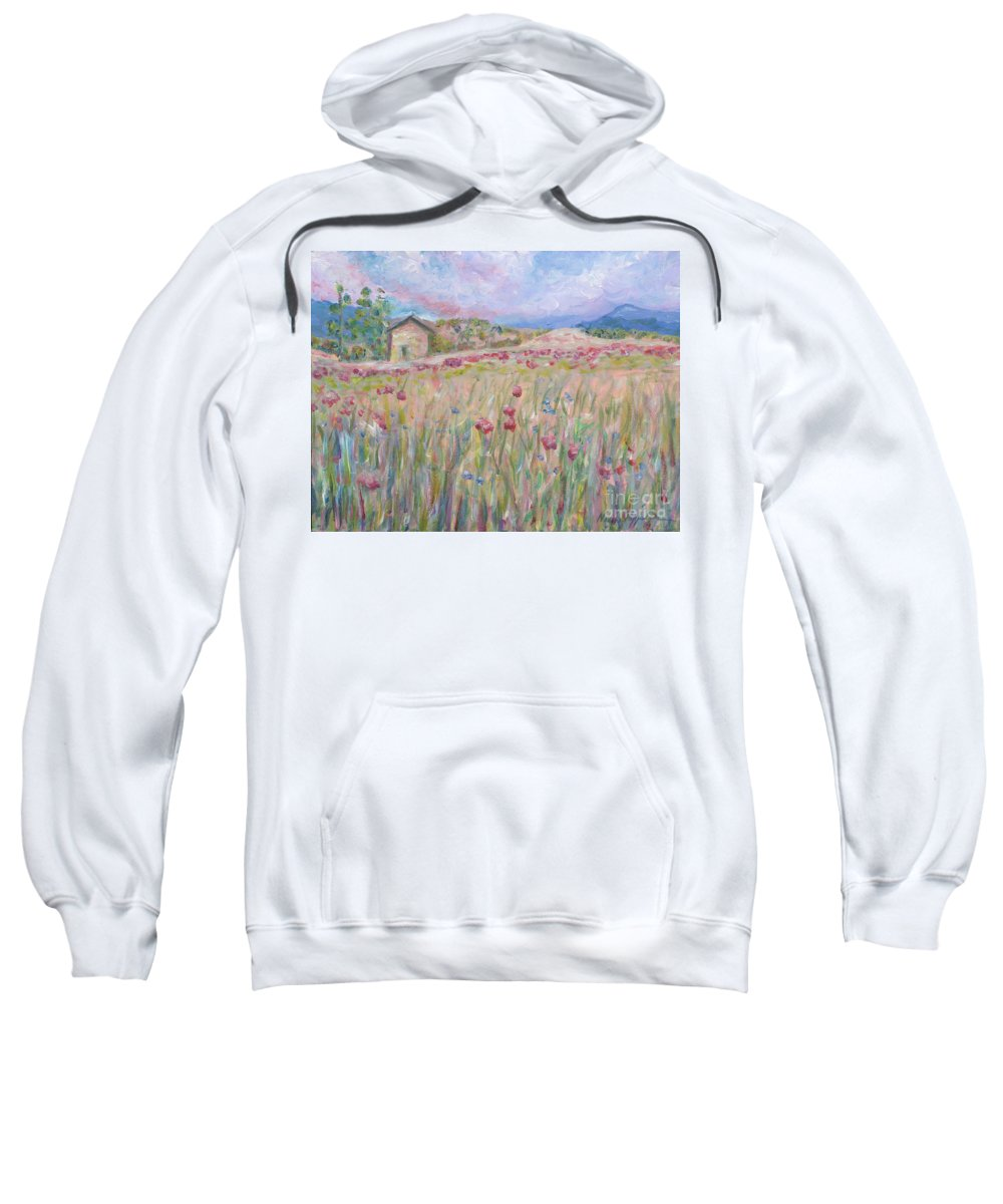 Pink Sweatshirt featuring the painting Pink Poppy Field by Nadine Rippelmeyer
