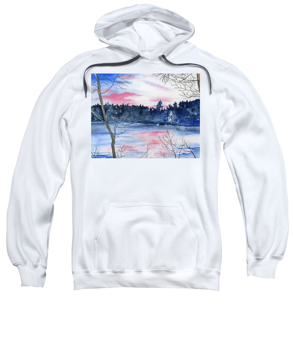 Watercolor Sweatshirt featuring the painting Pink Sky Reflections by Brenda Owen