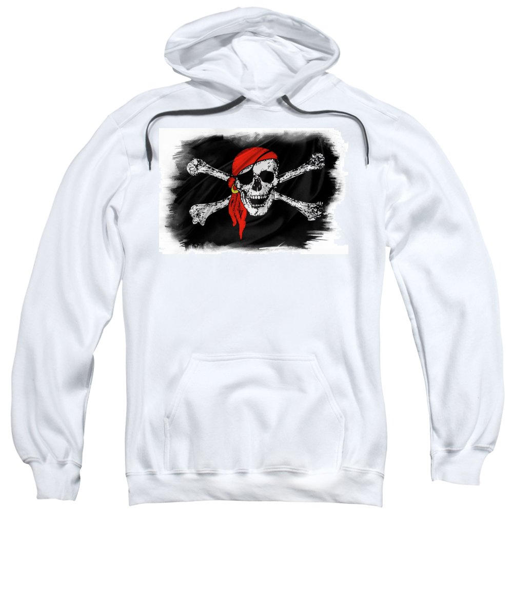 Color Sweatshirt featuring the photograph Pirate Flag by Les Cunliffe