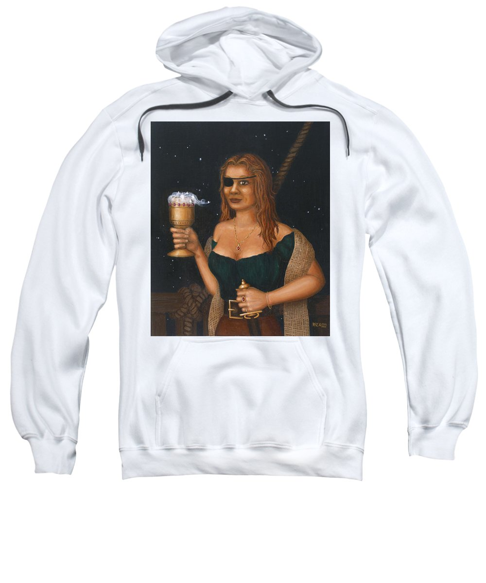 Fantasy Sweatshirt featuring the painting Pirate Queen by Roz Eve
